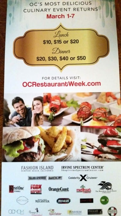 Orange County Restaurant Week March 1 – March 7