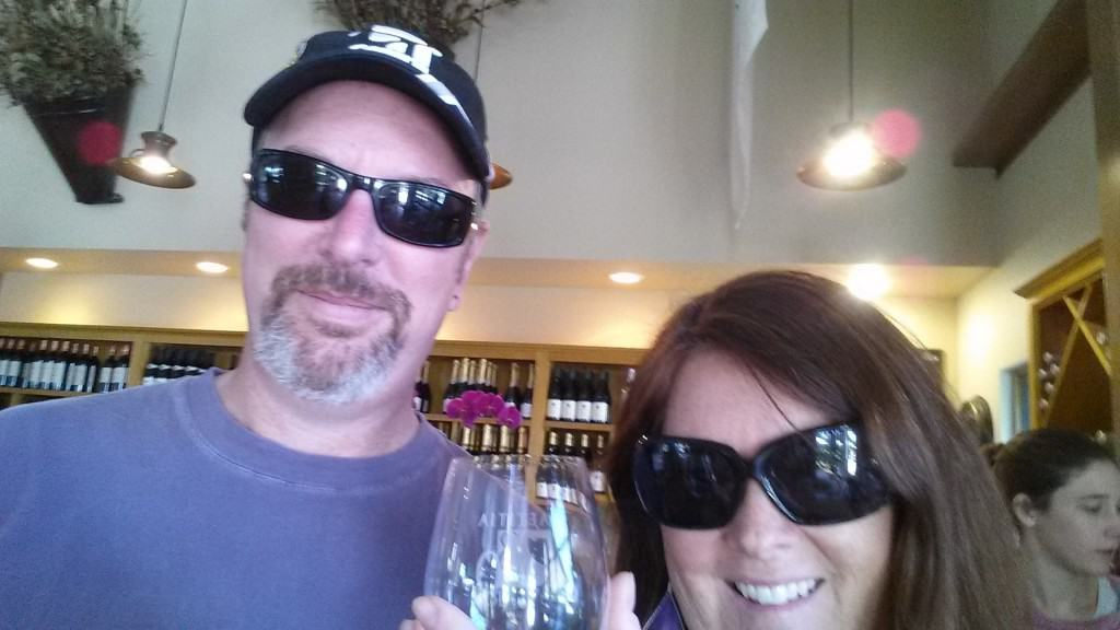 selfie with wine at laetitia winery