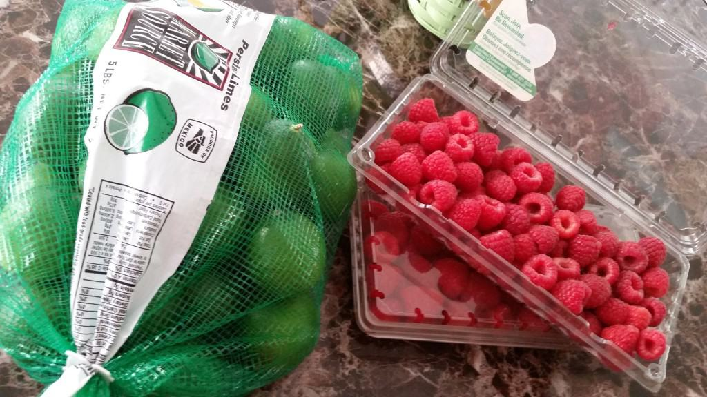limes and raspberries for lime raspberry cupcakes