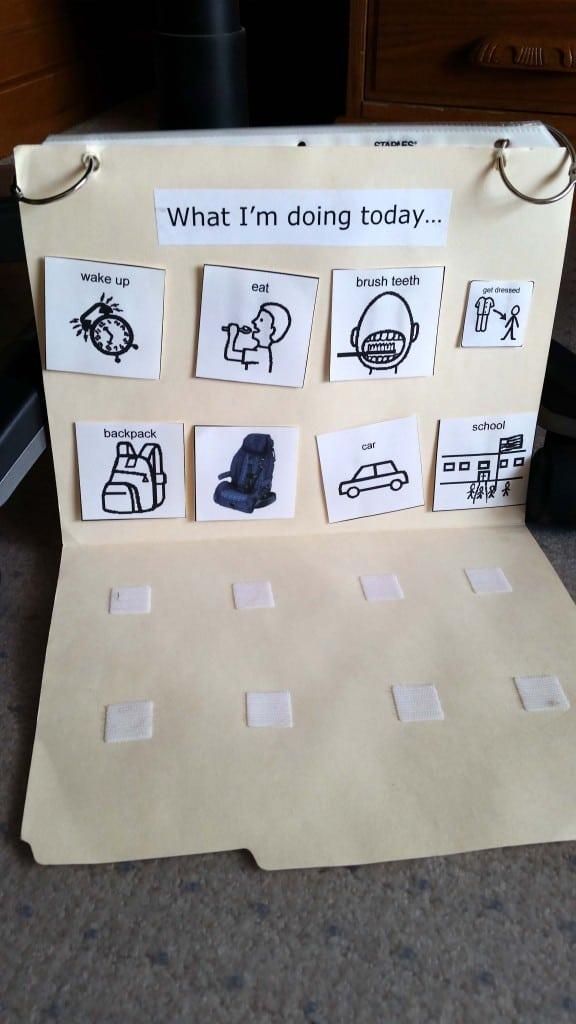 homemade PECS autism system