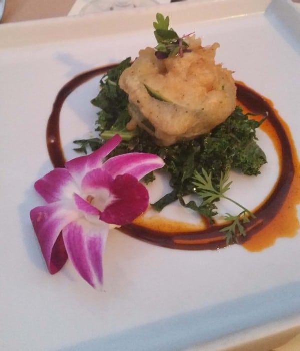 tempura stuffed zucchini