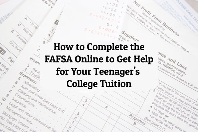 complete fafsa online for your teenager's college tuition
