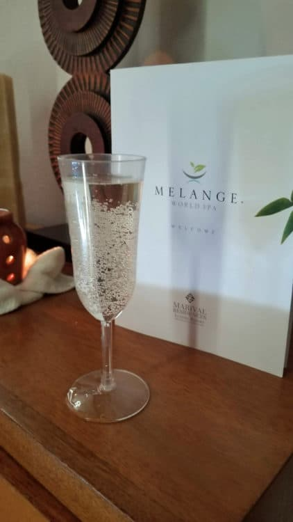 champagne at Melange World Spa