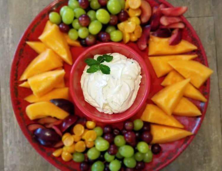 fruit platter with orange creamsicle dip