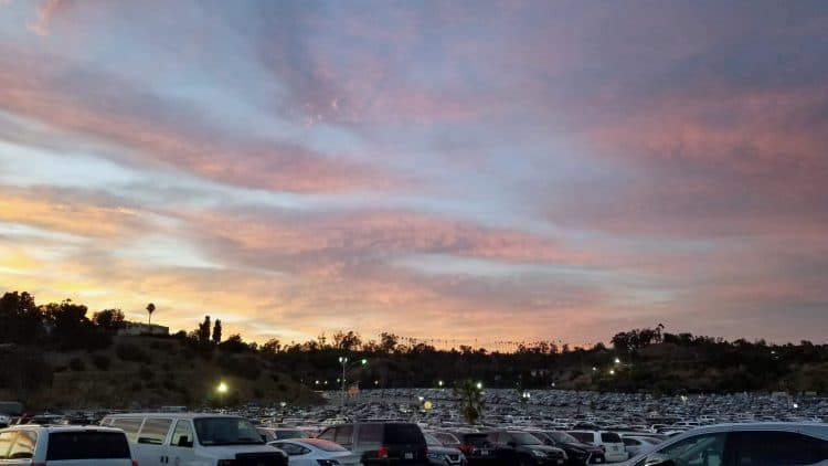 sunset over dodger stadium in los angeles