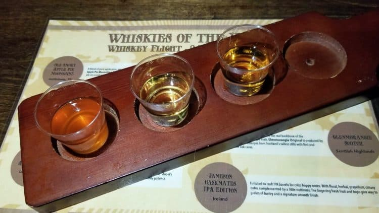 whisky flight at the barrel tasting room