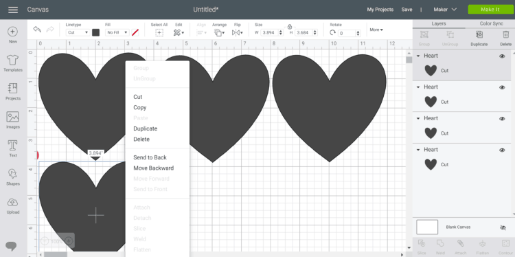 making an easy valentine's day banner in design space