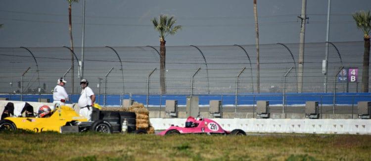 driver Kim Madrid on the track