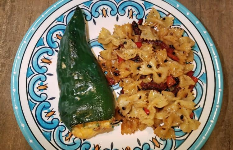 bacon cheese stuffed pasilla peppers and veggie pasta