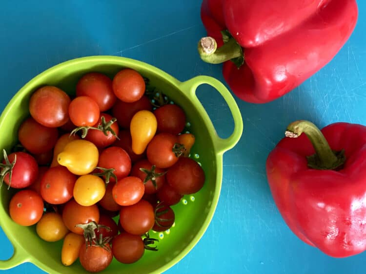 tomatoes and peppers for shakshuka recipe