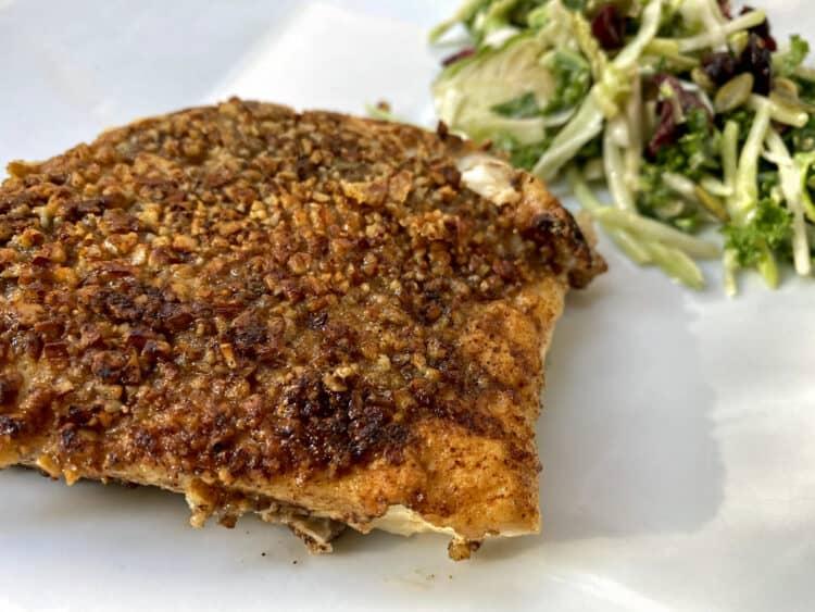 hatch pepper pecan crusted halibut