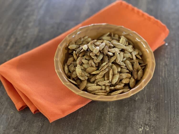 pumpkin seeds in bowl