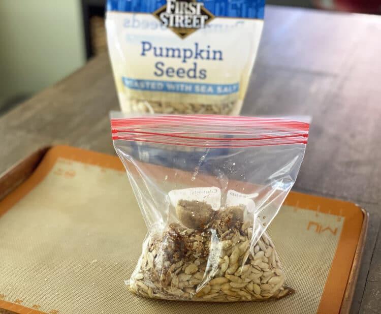 roasted pumpkin seeds in bag