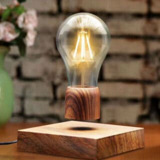functional decorating with a levitating lightbulb