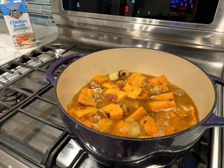 roasted vegetable soup on the stove