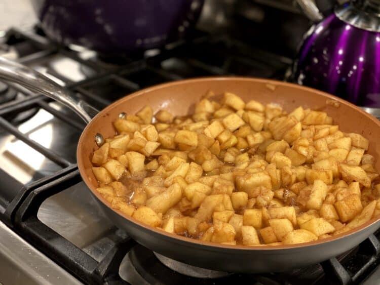 cinnamon apples on stove