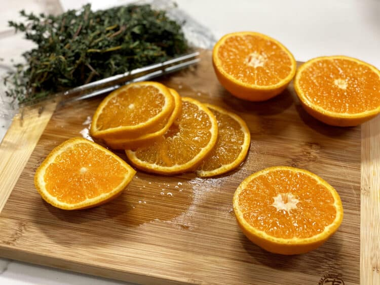fresh thyme and Ojai pixie tangerines