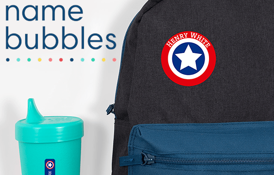 label a backpack with name bubbles