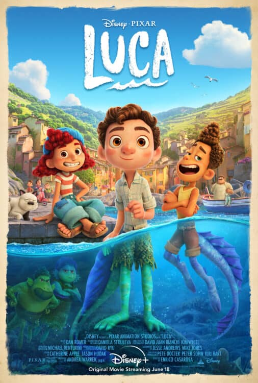 Luca official movie poster sea monsters in Italy