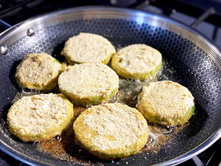 fried green tomatoes in the pan