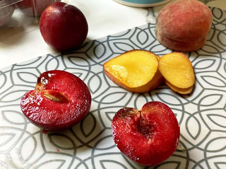 fresh plums and peaches