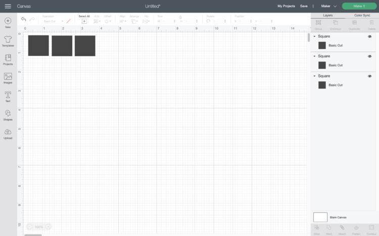Cricut design space square shape