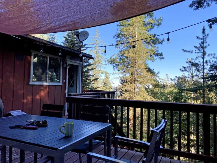 wraparound balcony at lake arrowhead cabin